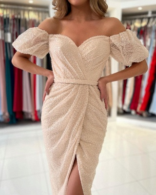 Stylish Off Shoulder Bubble Sleeves Short Mermaid Party Dress_3