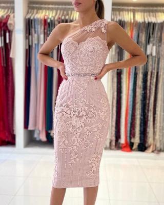 Stylish One Shoulder Floral Lace Slim Formal Party Dress_5