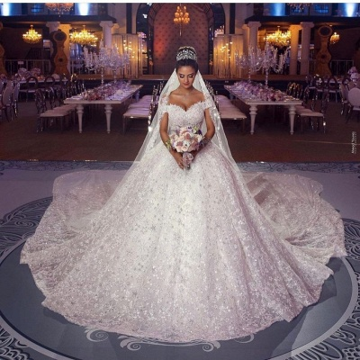 Гламурное бальное платье Aline с открытыми плечами и соборным шлейфом_2