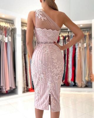 Stylish One Shoulder Floral Lace Slim Formal Party Dress_2