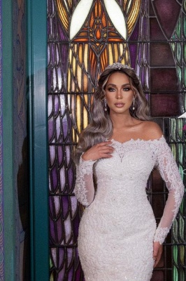 Gorgeous Off Shoulder Long Sleeves mermaid Bridal Gown with Detachable Train_2