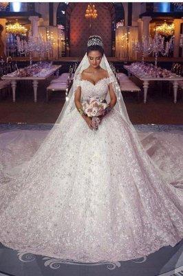 Гламурное бальное платье Aline с открытыми плечами и соборным шлейфом