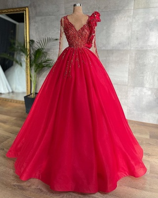 Stunning Red Beadings A-line Evening Maxi Dress Tulle V-Neck Party Dress for Women_2