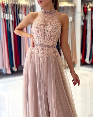 Stunning Halter Lace Appliques Tulle Aline Evening Maxi Dress_4