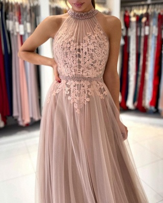 Stunning Halter Lace Appliques Tulle Aline Evening Maxi Dress_3