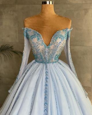 Великолепное платье принцессы с длинными рукавами в форме сердца, небесно-голубое, с бусинами, цветочными кружевными аппликациями_2