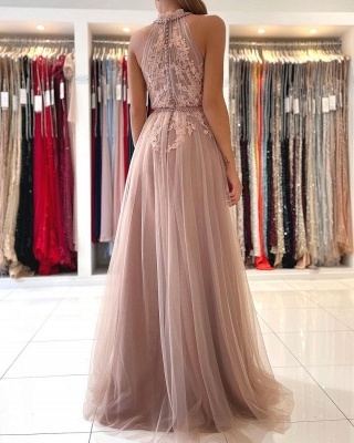 Stunning Halter Lace Appliques Tulle Aline Evening Maxi Dress_2