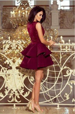 Cute Sleeveless Velvet Short Homecoming Dress Floral Two Layers Cocktail Dress_2