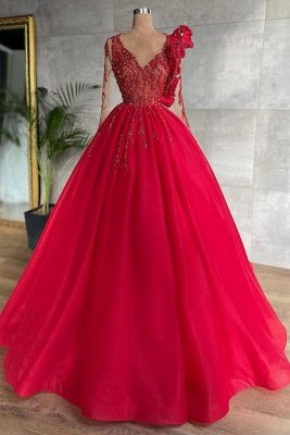 Stunning Red Beadings A-line Evening Maxi Dress Tulle V-Neck Party Dress for Women