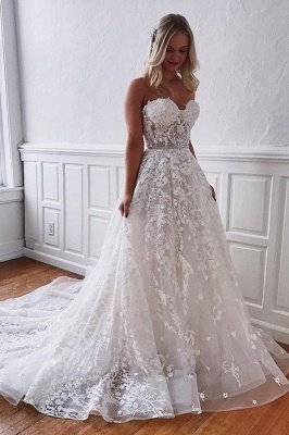 Gorgeous Sweetheart Sleeveless Wedding Dress with Tulle Floral  Appliques