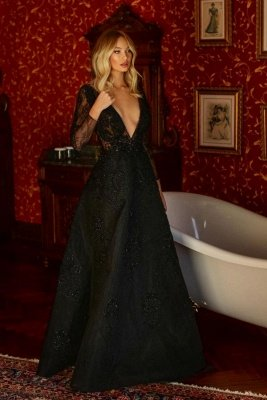 Chic Black V-Neck Aline Evening Party Dress Long Sleeves Lace Party Dress