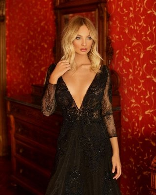 Vestido de festa chique preto com decote em V Aline noite de mangas compridas vestido de festa de renda_3
