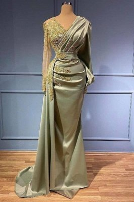 Mermaid Evening Dress Long Sleeves 3D Floral Appliques Satin V-Neck with Side Cape