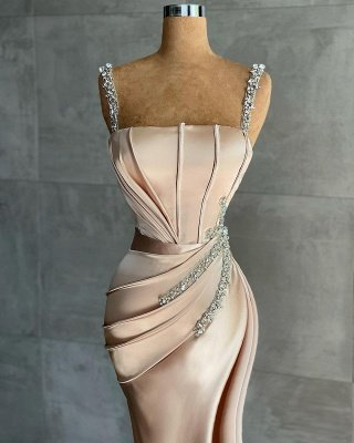 Sexy Satin Silk Mermaid Prom Dress with Deep Side Slit_2