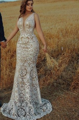 Sexy Deep V-Neck Floral Lace Mermaid Wedding Dresses Sleeveless Bridal Gown