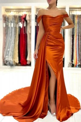 Stunning Stretch Satin Off Shoulder Evening Gown with Side Slit Detachable Train
