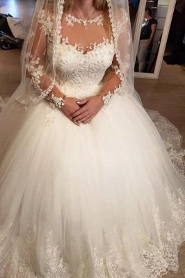 White Tulle Lace Aline Wedding Dress Crew Neck  Sleeveless Bridal Dress with Appliques