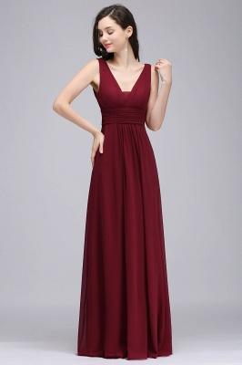 ALEXA | Sheath V Neck Burgundy Chiffon Long Evening Dresses_1