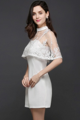 CLARE | Column High-neck Knee-length White Prom Dress_7