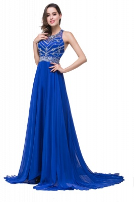ELLA | A-line Crew Floor-length Sleeveless Tulle Prom Dresses with Crystal Beads_7
