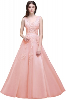 ADDYSON | A-line Floor-length Tulle Bridesmaid Dress with Appliques_3