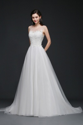 BAILEE | A-line Scoop Tulle Elegant Wedding Dress With Lace_2