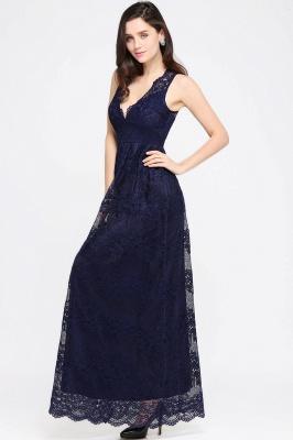 CHAYA | Sheath V-neck Floor-length Lace Navy Blue Prom Dress_11