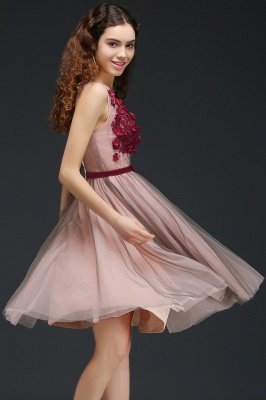 CORALINE |Princess V-neck Knee-length Tulle Homecoming Dress with a Self-tie Belt_6