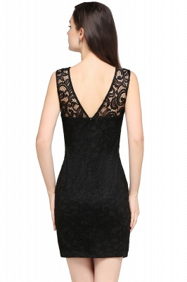 ARYA | Sheath Scoop Black Lace Homecoming Dresses_5