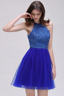 CAITLYN | A-line Halter Neck Short Tulle Royal Blue Homecoming Dresses с бисером_7