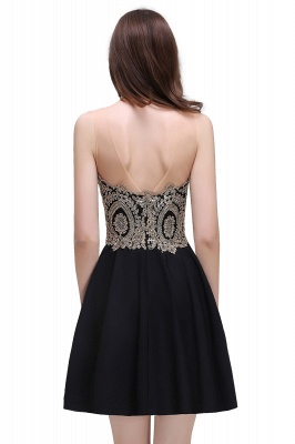 CAITLIN | A-line Short Chiffon Black Homecoming Dresses with Appliques_7