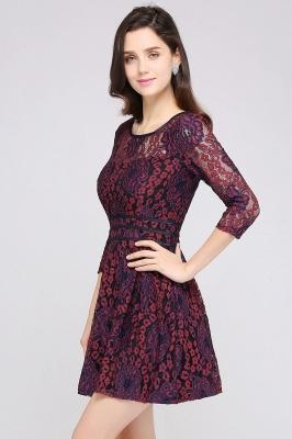 Elegantes Spitze Kleid Kurz | A-Linie Kleider Mit Langarm_4