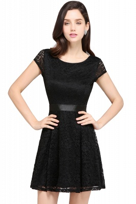 ARMANI | A-line Scoop Black Lace Homecoming Dress with Sash_8