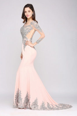 Vintage Long Sleeve Beads Appliques Mermaid Court Train Illusion Evening Dress