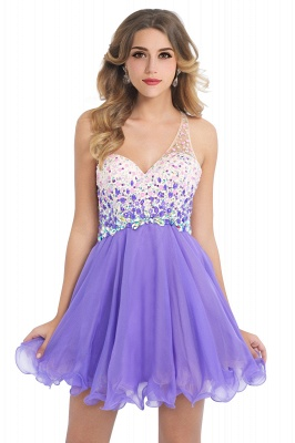 CATALINA | A-line One Shoulder Chiffon Party Dress With  Crystal_2
