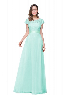 ELLIANA | A-line Short Sleeve Chiffon Bridesmaid Dresses with Ribbon Bow Sash_6