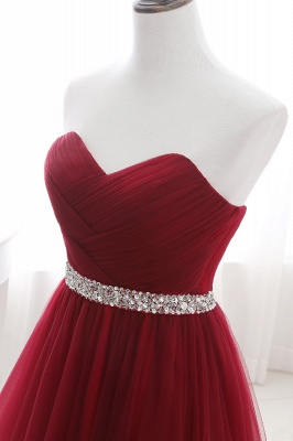 ANGELINA | A-line Sweetheart Burgundy Tulle Prom Dress With Beading_12
