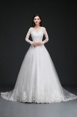 AMAYA | Ball Gown V-Neck Tulle Newest Wedding Dresses with Lace_1