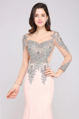 Beading Appliques Mermaid Court Train Illusion Evening Dress