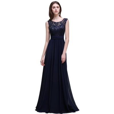 AUDRINA | A-ligne Scoop en mousseline de soie robe de bal avec dentelle_2
