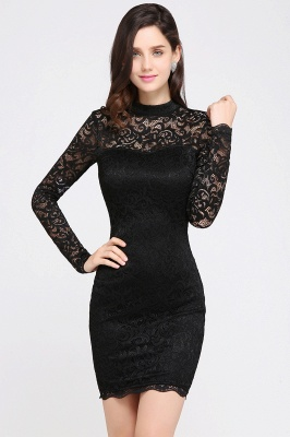 ARYANNA | Sheath High Neck Short Black Lace Cocktail Dresses_4