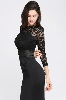 Sexy Lace Sleeves Mermaid High Neck Elegant Zipper Back Evening Dress