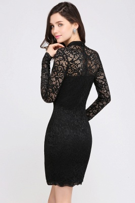 ARYANNA | Sheath High Neck Short Black Lace Cocktail Dresses_5