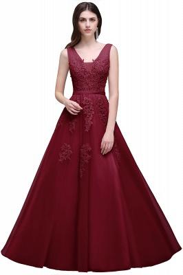 ADDYSON | Uma linha do assoalho-comprimento vestido de dama de tule com apliques_6