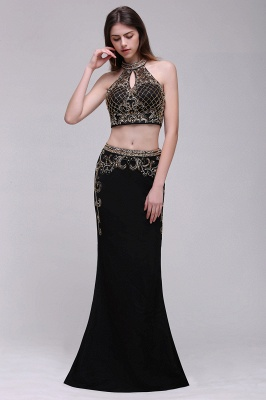 BRAELYN | Sheath Halter Black Two Pieces Prom Dresses With Crystal_2
