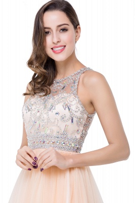 ELISA | A-line Crew Sleeveless Tulle Short Prom Dresses with Beadings_11
