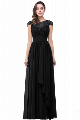 ELLEN   A-line Short Sleeves Chiffon Bridesmaid Dresses with Ribbon Bow_3