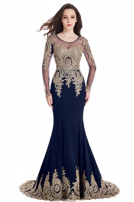 Crystal   Sexy Mermaid Lace Appliques Long Sleeves Prom Dresses with Beadings_7