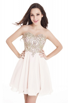 CYNTHIA   A-Line Strapless Short Chiffon Prom Dresses with Beadings_4