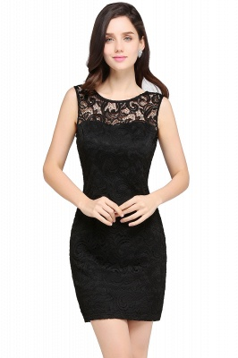 ARYA | Sheath Scoop Black Lace Homecoming Dresses_7